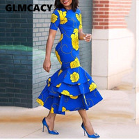 Women Round Neck Mid Calf Falbala Sheath Pullover Dresses Trumpet / Mermaid Flora Printed Short Sleeve Summer Party Dress