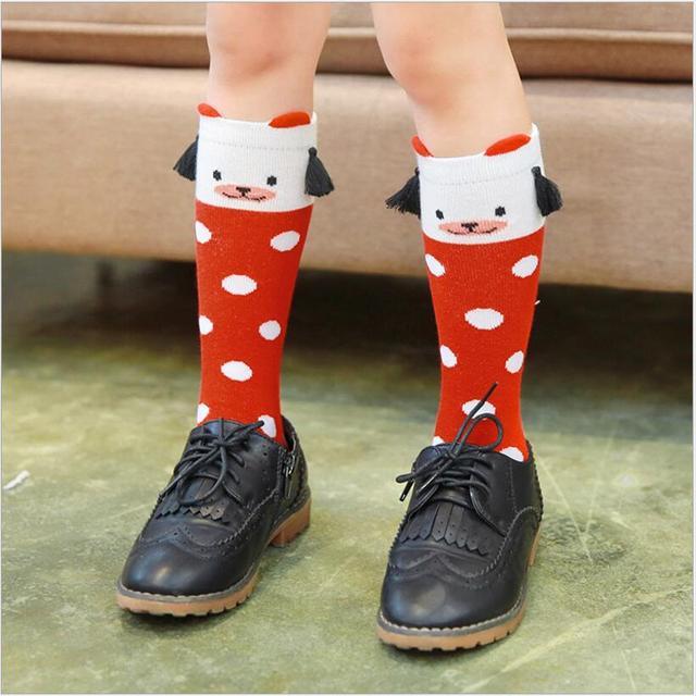 9777ac689 Toddler kids Socks children s knee high Tassel socks Baby boys girls middle-length  Fox mouse bear Socks For 1-6 Years