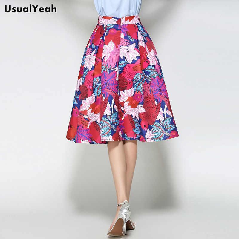 c7ba15115e0 ... UsualYeah A line Midi Skirt Women Pleated High Waist Skirt Tropic  Affair Print Fashion Ball Gown ...