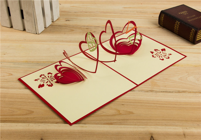 New paper red 3d heart pop up cards birthday love greeting cards new paper red 3d heart pop up cards birthday love greeting cards handmade paper art carving m4hsunfo