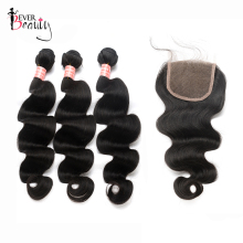 Body Wave Human Hair Bundles With Closure Ever Beauty Brazilian Hair Weave 3 Bundles With 4*4 Lace Closure Remy Hair