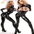 2017 Mujeres Sexy Negro PVC Mono Entrepierna Abierta Disfraces Eróticos Fetiche de Látex Catsuit Faux Leather Mamelucos Ropa para Jugar