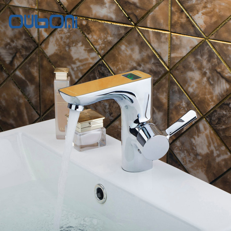 OUBONI High Quality Brass Digital Display Number Basin Tap Bathroom Faucet torneira banheiro Hot and Cold Water Mixer Wall Mount