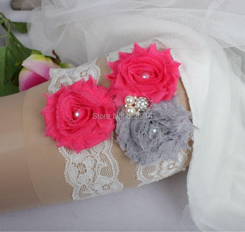 Дизайн кружевная отделка потертый цветок свадебный набор подвязок для свадьбы из потертого цветка ручной работы