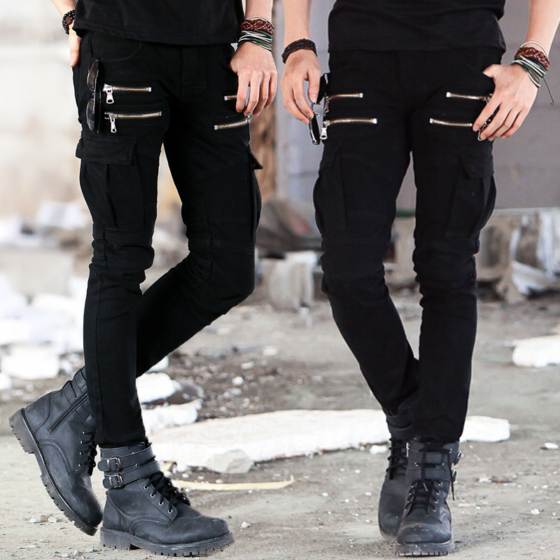 f8cd4748910a1d Mens Skinny Denim Biker Cargo Jeans Men Cargo Pocket Jeans Pants Black Army  Green-in Jeans from Men's Clothing on Aliexpress.com   Alibaba Group