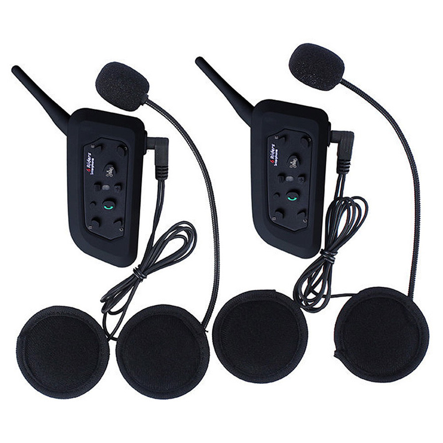 2Pcs V6 Motorcycle Helmet Intercom BT Headset 6 Riders 1200M Bluetooth Interphone Wireless Walkie Talkie Bikers Ear Headphone carchet 2x bt bluetooth motorcycle helmet inter phone intercom headset 1200m 6 rider motorbike headset handsfree call