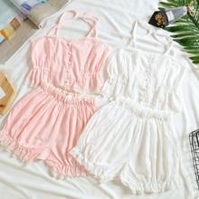 Новинка, Корейская хлопковая ночная рубашка для женщин, милая одежда для сна для девочек, повседневный костюм, розовые кружевные топы, шикарные