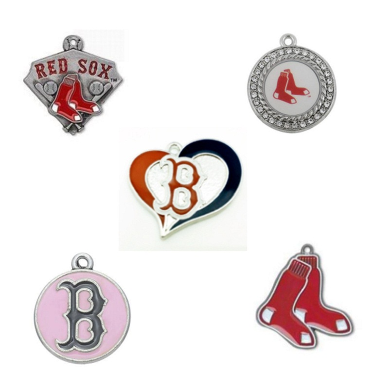 Boston Red Sox Pendant Charms Enamel Baseball Team Charms For DIY Sport Necklace & Bracelet & Earring Jewelry