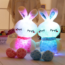 1pc 75/100cm Creative Light Up LED Rabbit Stuffed Animals Plush Toy Colorful Glowing Bunny Christmas Gift for Kids