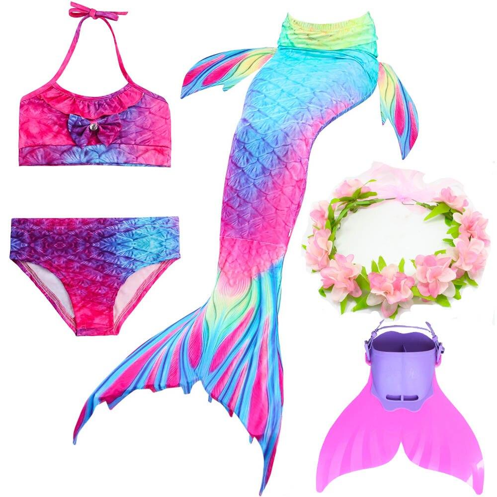 5Pcs/set Girls Swimming Mermaid Tail With Monofin Cosplay Bikini Swimwear Princess Costumes For Kids Swimmable Fins