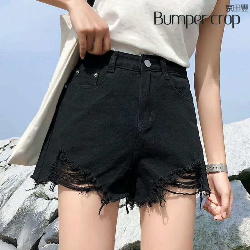 Bumpercrop high waisted   shorts   for women jean summer denim hot street style custom lady new fashion Loose hole casual 2019