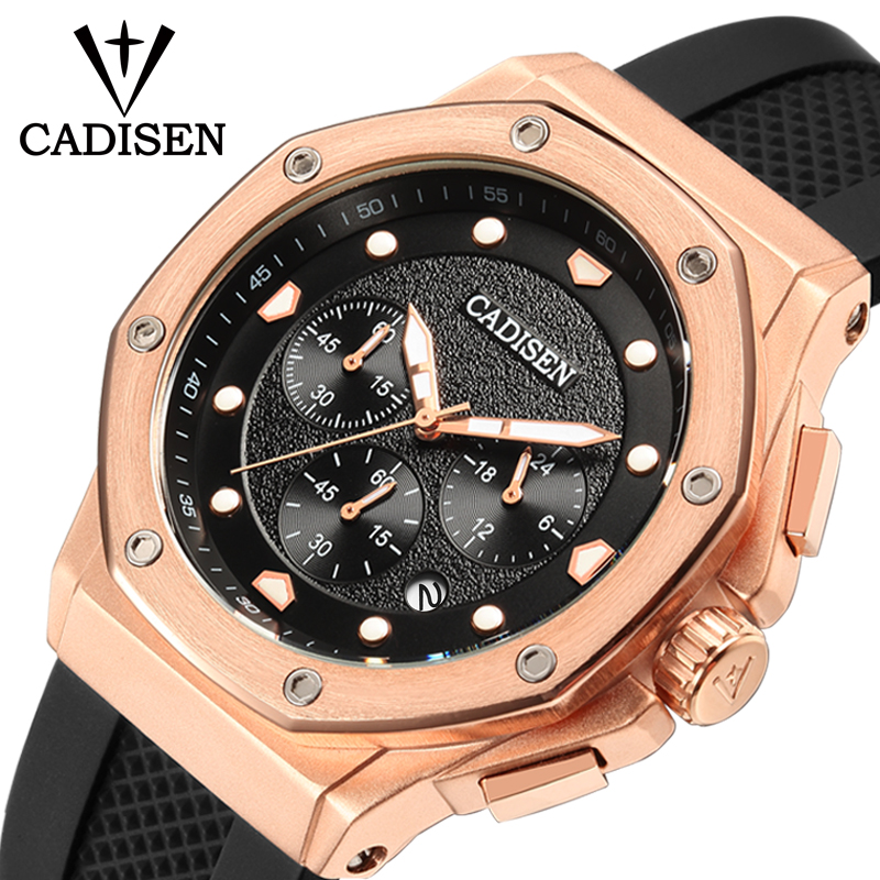CADISEN Mens Watch Sport Chronograph Silicone Strap Quartz Army - Men's Watches