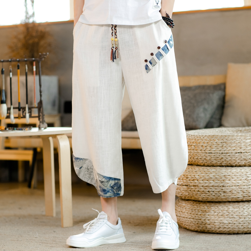 Chinese style loose cropped trousers men Stitching Summer thin section fashion linen casual pants Large size 5XL wide leg pan