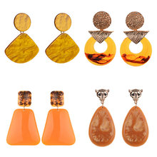 PPG&PGG New Za Ear Accessory Coral Resin Statement Earrings For Women Conpicuous Boho Style Orange Acrylic Earring(China)