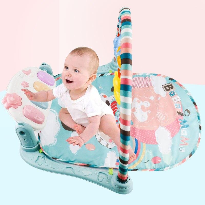 Meibeile Musical bébé tapis multifonctionnel Piano Fitness Rack jouets éducatifs pour bébé Gym avec Projection avion miroir