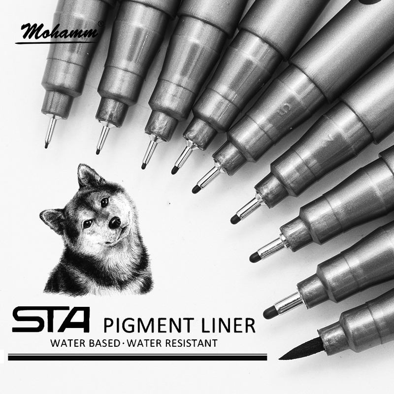 STA  Waterproof  Fade Proof Micron PenTip Fine Liner Black Sketch Water Marker Pen For Manga