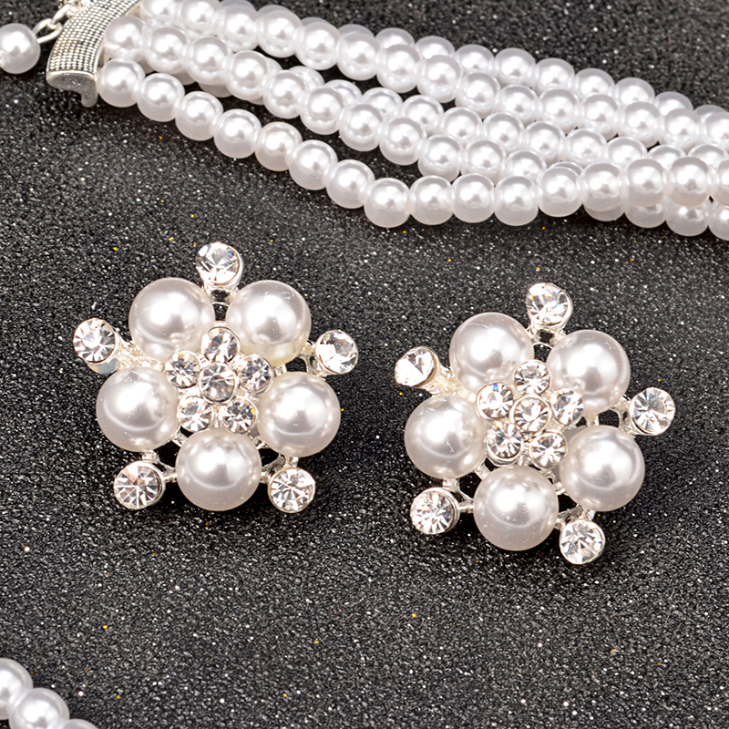 Multi-layer Imitation Pearl Flower Jewelry Set