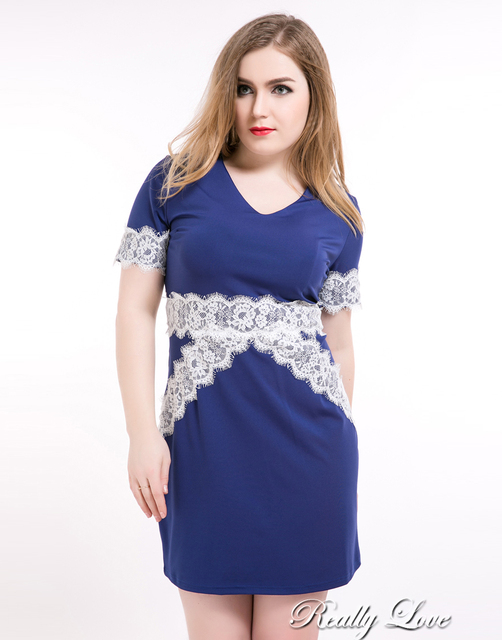 Cute Ann Womens Sexy V Neck Plus Size Lace Party Dress Short Sleeve