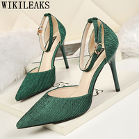 9e1cae76 Black Pumps Mary Jane Shoes Extreme High Heels Sexy Dress Shoes Women  Luxury Heels Green Shoes. Zapatos negros mary jane tacones altos ...