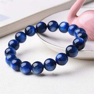 10mm Genuine Natural Blue Kyanite Gemstone Crystal Stretch Round Bead Bracelet Women Men Drop Shipping