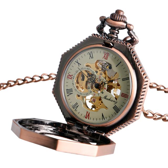 Mechanical Pocket Watch Chain Gift Luxury Skeleton Octagon Shape Hand Winding Cool Stylish Steampunk Nurse Clock Xmas Gift