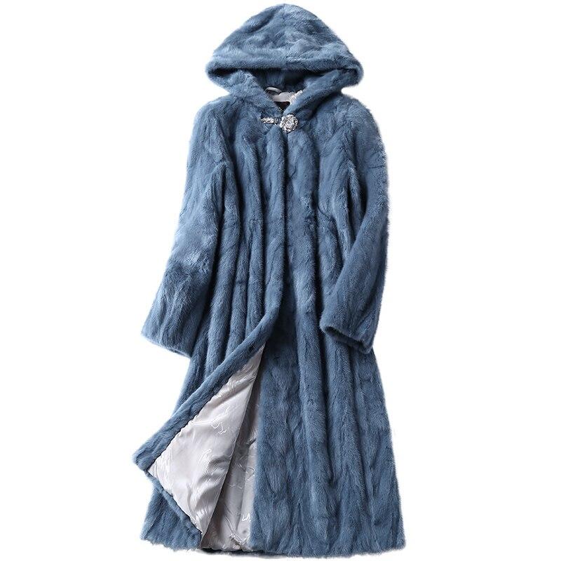 Luxo Genuine Casaco de Pele De Vison Cortado com um Casaco Com Capuz de Inverno Genuíno Das Mulheres De Pele X-Longo Outerwear Plus Size 3XL LF5169