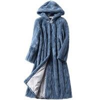 Luxury Genuine Sliced Mink Fur Coat Jacket With Hoody Winter Genuine Women Fur X Long Outerwear Plus Size 3XL LF5169