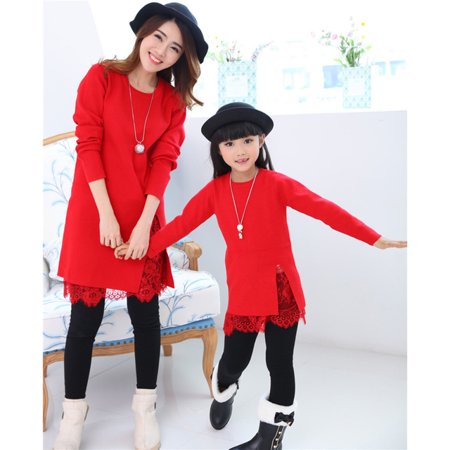 mother mom and daughter dresses mommy and me christmas family look matching clothes outfits red knitting