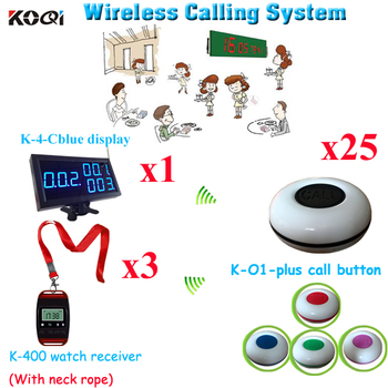 Pager Waiter Call System 100% Brand New Push For Service Equipment(1pcs display + 3pcs watch+25pcs call button)