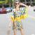 Estilo étnico patrón colurful impresión flare manga loose shorts trajes para mujeres de la manera pone en cortocircuito verano borla de la manera 2016