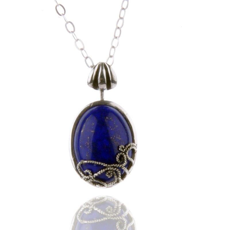Vintage le Vampire Diaries collier 925 argent avec Lapis Lazuli Katherine pendentif bijoux Cosplay pour les femmes cadeau