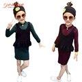 As Meninas da criança Conjuntos de Roupas de Primavera 2017 Da Marca Filhos Adoráveis Vestidos de Camisola Longa + Colete de Duas Peças Terno do Bebê Roupas Meninas conjuntos