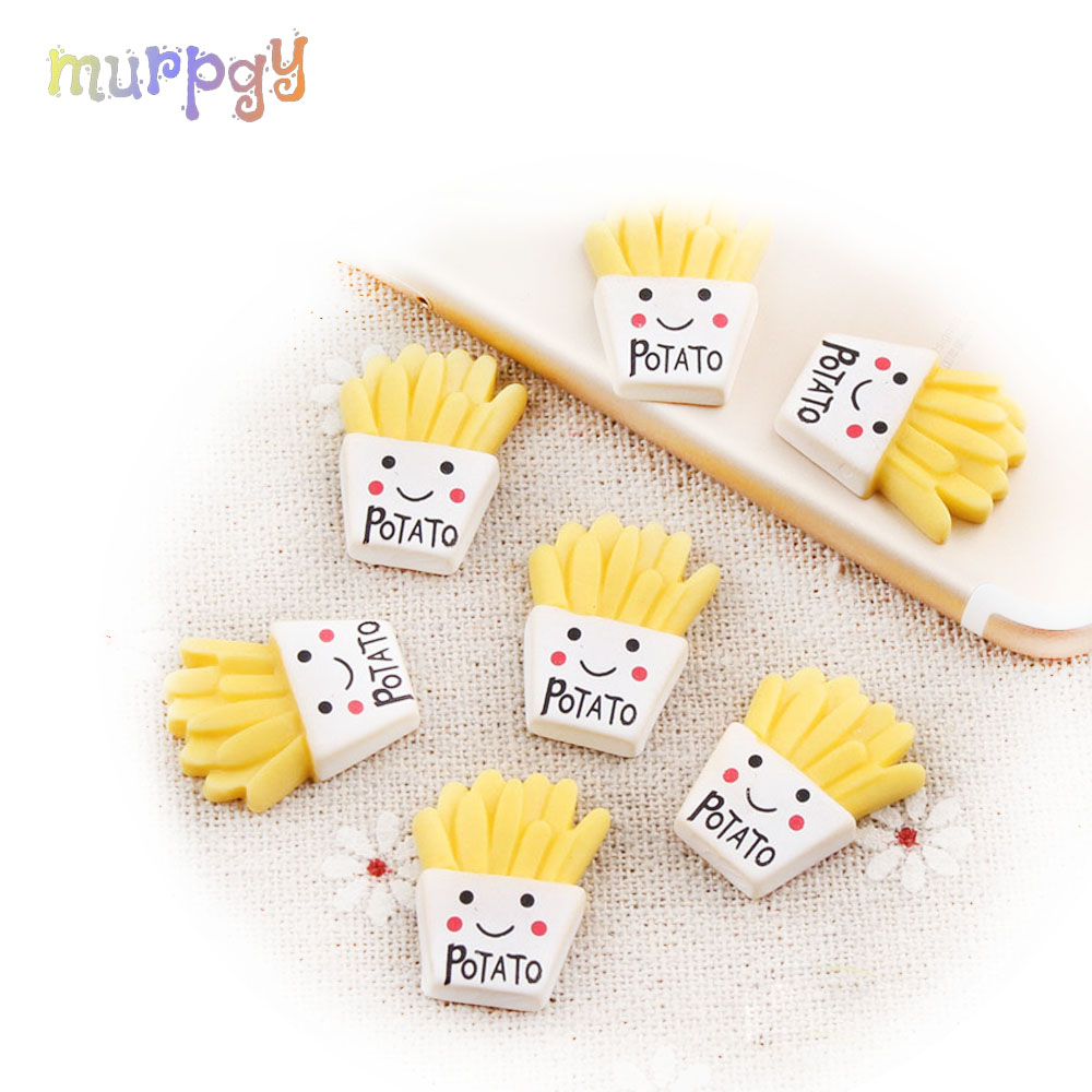 10Pcs/lot French Fries Charm Slime Model Polymer Filler Slime Modeling Clay Lizun DIY Kit Slime Accessories For Children Gifts