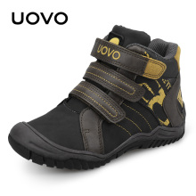 UOVO mid-cut velcro children boys sport shoes outdoor shoes casual leather shoes for boys size 28-35 2 colors