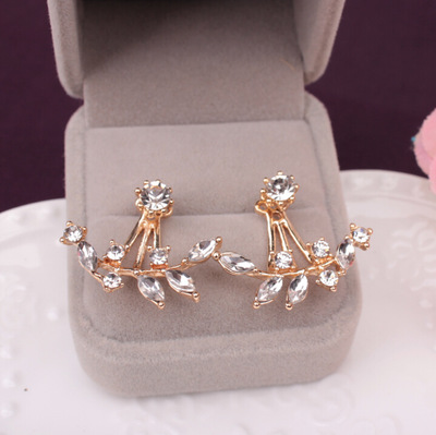For Women Rose Gold Color Double Sided Fashion Jewelry Earrings Female Ear Brincos Pending 2018 Flower Crystals Stud Earring(China)