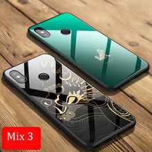 Aixuan Luxury Case For Xiaomi Mi Mix 3 Cover Glass TPU Bumper Armor Tempered Back Phone Shell
