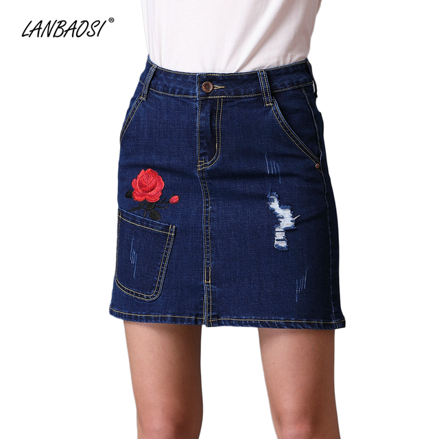 2b87f698bc LANBAOSI Embroidery Ripped Jeans Miniskirt for Women Casual High Waist A  Line Mini Denim Skirt Cowgirl Female Pencil Skirts