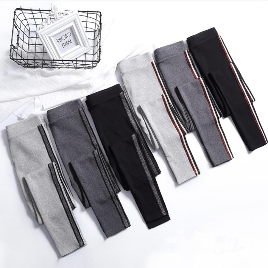 2019 Spring Summer Cotton Leggings Women High Waist Side Stripes Sporting Fitness Leggings Pants Slim Leggings High Quality