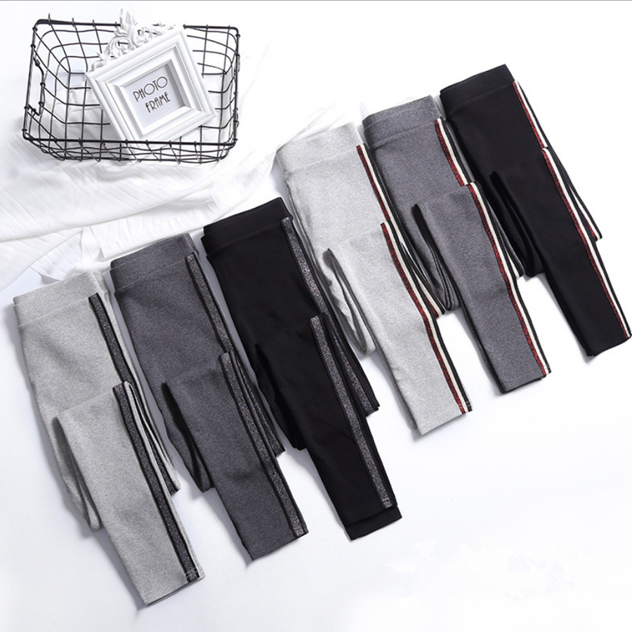 2019 Spring Summer Cotton   Leggings   Women High Waist Side Stripes Sporting Fitness   Leggings   Pants Slim   Leggings   High Quality