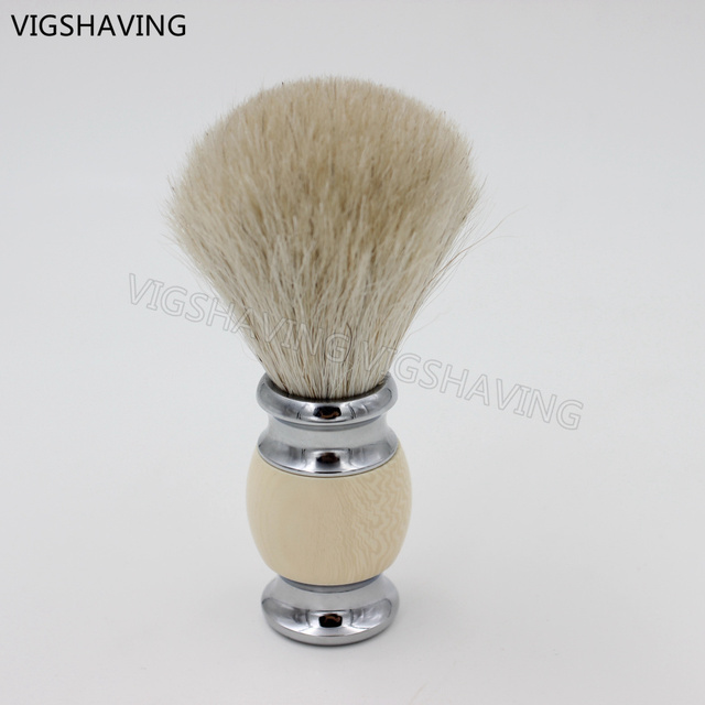 Chrome plated Metal Faux Ivry handle Pure Horse Hair shaving brush men gift Baber Tool