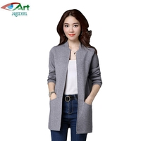 JQNZHNL 2017 Spring Women Cardigans Plus Size Long Sleeved Knited Cardigans Ladies Solid Color Pockets Sweater