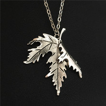 New Women Unique Jewelry Canada National Flag Symbol Silver Big Folded Maple Leaf Pendant 70CM Long Chain Punk Leaves Necklace(China)