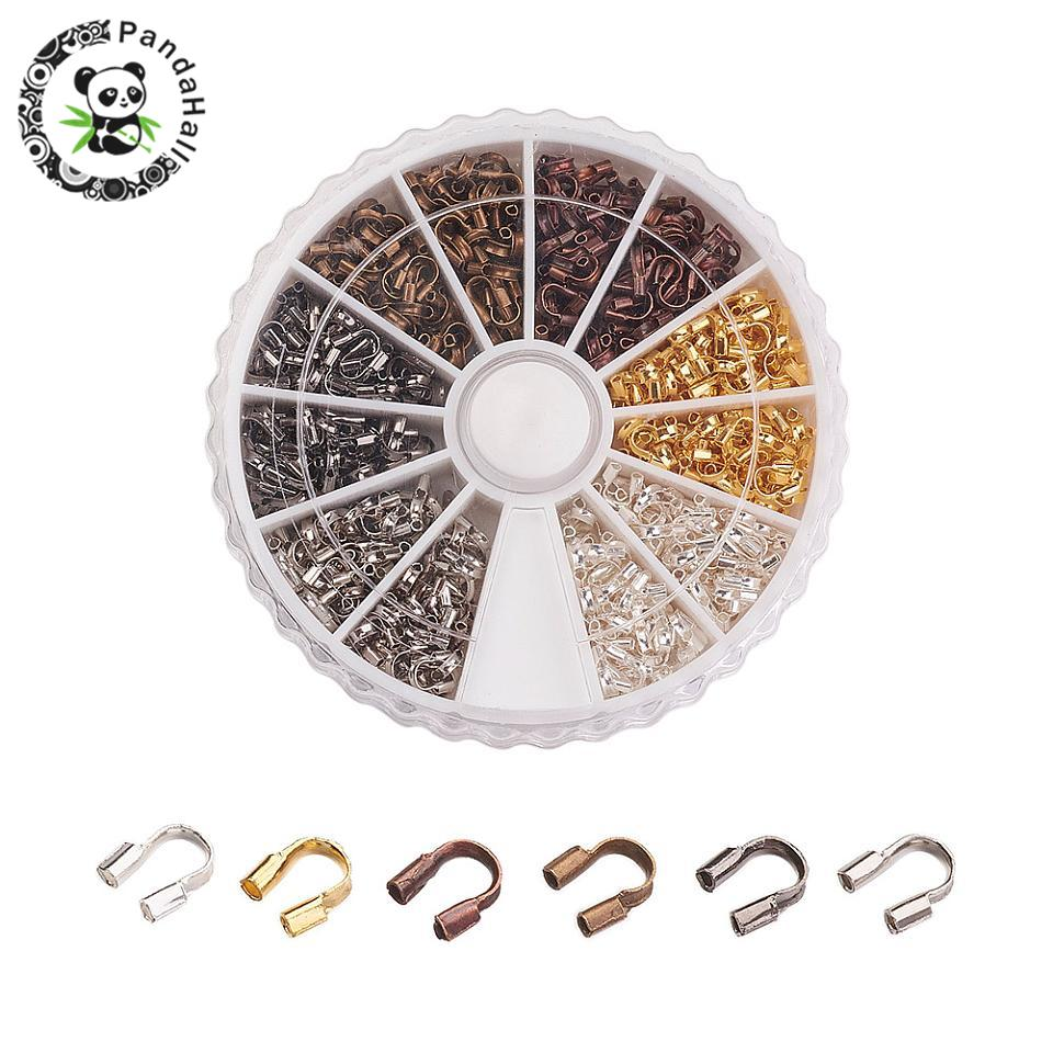 Wholesale 540pcs/box Brass Wire Guard Guardian Wire Protectors Loops DIY Jewelry Findings 5x4x1mm 6 Mixed Colors Free Shipping
