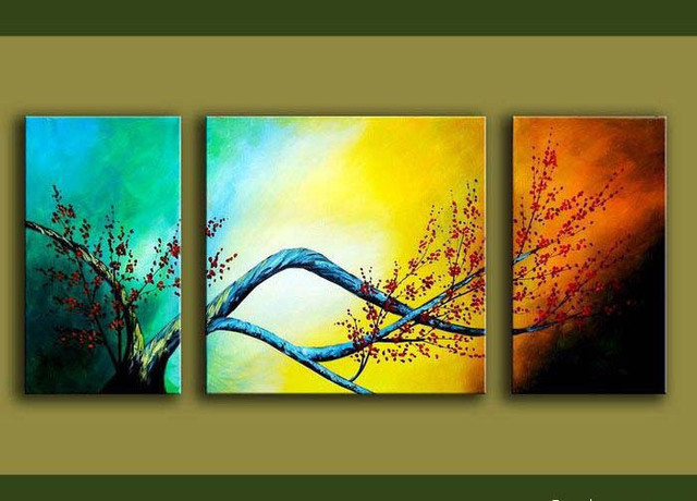 Framed 3 Panel Cherry Blossom Picture Flower Oil Painting on Canvas ...