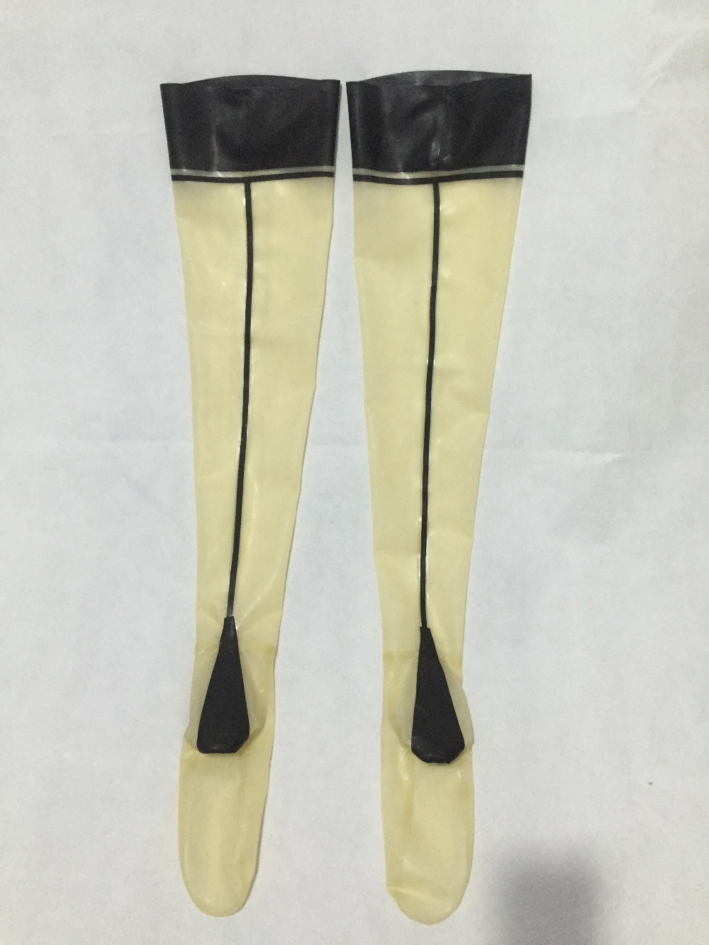 Free Shipping ! Sexy Fetish Latex Stockings Transparent Rubber Stockings With Trims Customized
