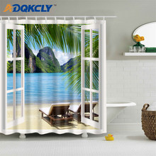 3D Digital Printing Shower Curtain Eco-Friendly Polyester Lanscape Sea Image Home Bathroom Curtain Easy Installation 3 Sizes(China)