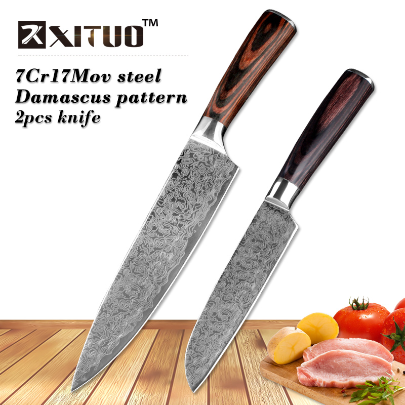 "XITUO 2 pieces kitchen knife set 8""5""inch Imitation Damascus steel Pattern kitchen knife chef paring cleaver knife wood handle"