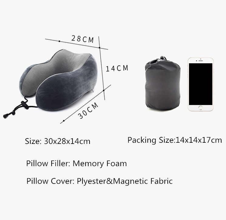 U-شكل المغناطيسي المخده 30x28 cm الرقبة وسادة الذاكرة رغوة حشو مع Eyemask سدادة الأذن السفر مكتب سيارة احتضان عنق الرحم وسادة