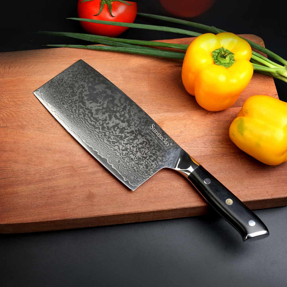 SUNNECKO 7 inch Cleaver Knife Japanese VG10 Damascus Steel Sharp Blade Kitchen Knives G10 Handle Meat