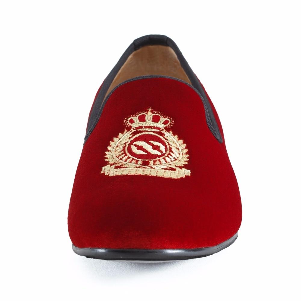 Neue handgefertigte männer rot samt faulenzer mit krone casual dress - Herrenschuhe - Foto 5